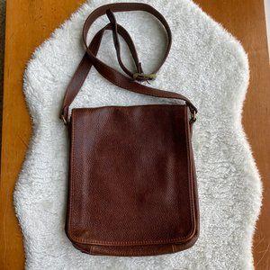 Vtg Leather Messenger Crossbody Shoulder Bag